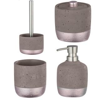 Set d'accessoires de salle de bain design béton Mauve - Gris