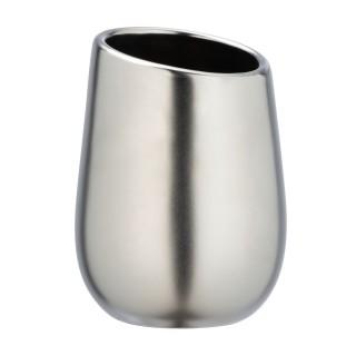 Gobelet de salle de bain design mat Badi - Argent chromé