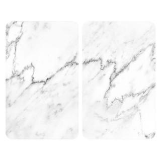 2 Couvre-plaques universel design Marbre - 30 x 52 cm - Blanc et noir