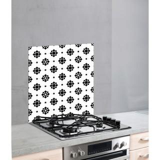 Fond hotte design Arabesque - L. 60 x l. 70 cm - Blanc et noir