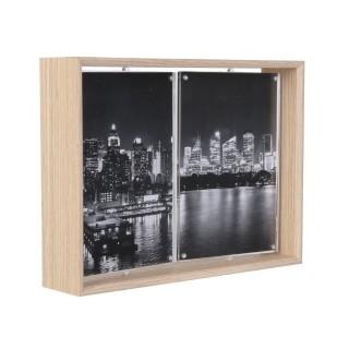 Cadre photo rotatif en bois City - 2 Photos - Marron