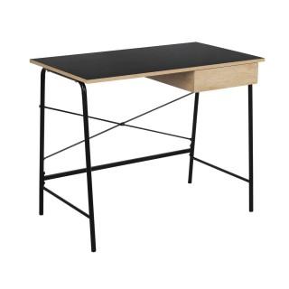 Bureau indutriel en bois Stanford - L. 100 x H. 75 cm - Noir