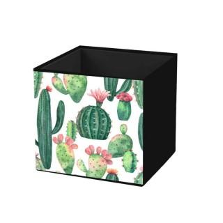 Cube de rangement pliable - 31 X 31 CM - Motif cactus