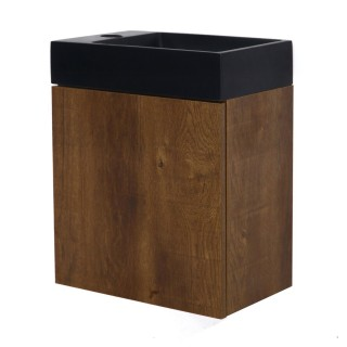 Meuble lave-mains à suspendre design Java - L. 40 x H. 48 cm - Marron bois