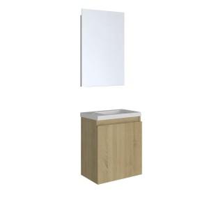 Lavabo lave-mains pack design Porto - L. 40 x H. 48 cm - Marron chêne
