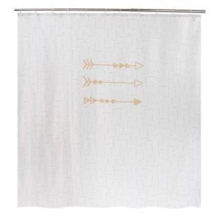Rideau de douche design ethnique ARROW GOLD - 180 x 200 - Blanc