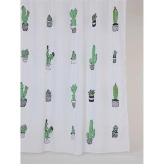 Rideau de douche tropical CACTUS - 180 x 200 cm - Blanc