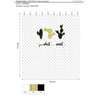 Rideau de douche tropical CACTUSA - 180 x 200 cm - Blanc