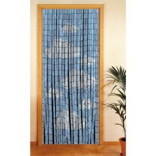 Rideau de porte en bambou Nuage - 90 x 200 cm - Bleu