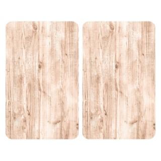 2 Couvre-plaques universel design Naturel - 30 x 52 cm - Effet bois