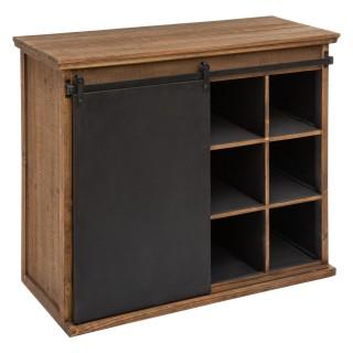 Buffet design bois industriel Ygor - L. 94 x H. 79 cm - Noir