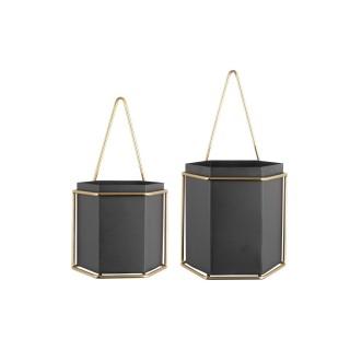 2 Cache-pots suspendus design métal Hexagon - Noir