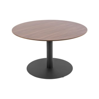 Table basse ronde design Dot - Diam. 60 x H. 35 cm - Marron noyer