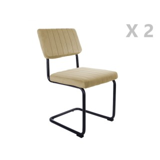 2 Chaises cantilevers design velours Keen - Beige