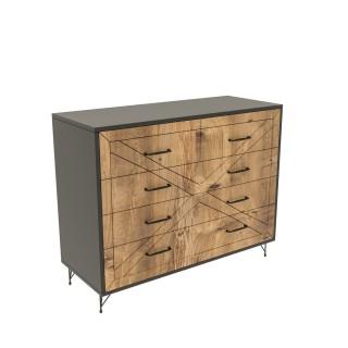 Commode design bois Comfort - L. 80 x H. 100 cm - Gris anthracite