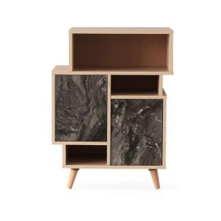 Etagère bibliothèque design marbré Izmir - L. 70 x H. 90 cm - Gris anthracite