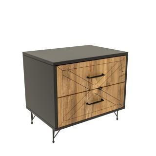 Table de chevet design bois Felicita - L. 50 x H. 55 cm - Gris anthracite