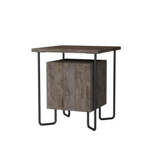 Table de chevet design Acres - L. 40 x H. 45 cm - Marron foncé