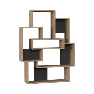 Etagère bibliothèque design bois Barce - L. 101 x H. 132 cm - Gris anthracite