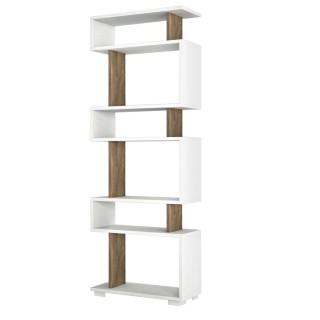 Etagère bibliothèque design scandinave Blok - L. 60 x H. 165 cm - Blanc