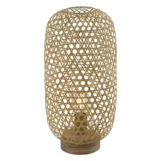 Lampe à poser design bambou Mirena - Diam. 22 x H. 46 cm - Beige naturel