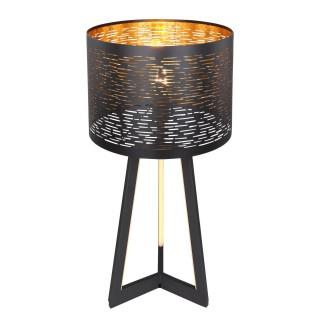 Lampe à poser design Tunno - Diam. 7 x H. 35 cm - Noir et doré