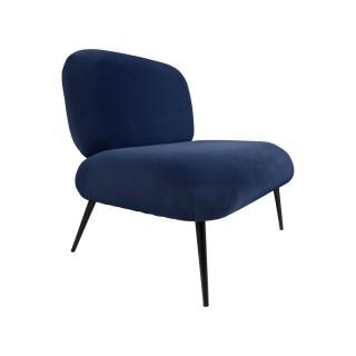Fauteuil design velours Puffed - Bleu foncé