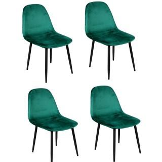 Lot de 4 Chaises de table design velours Inoui - Vert émeraude