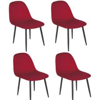 Lot de 4 Chaises de table design velours Inoui - Rouge