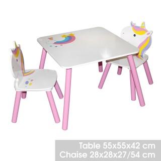 Bureau avec chaise enfant design Licorne - Blanc et rose