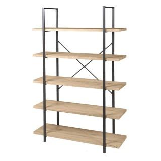 Etagère design industriel bois et métal Dock - L. 100 x H. 174 cm - Noir
