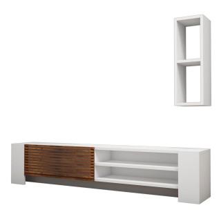 Meuble TV Pina 160 cm - Blanc et Marron noix