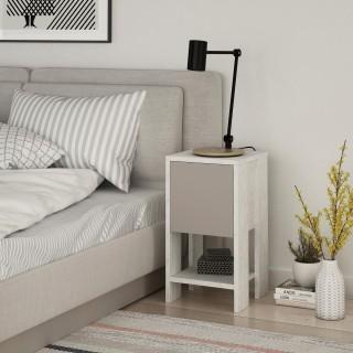Table de chevet Ema 30 cm - Blanc et Taupe