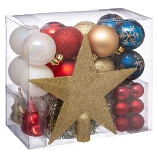 Kit déco pour sapin de Noël - 44 Pièces - Doré, rouge, blanc et bleu