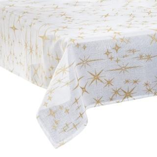 Nappe étoiles de Noël Caneva - L. 140 x l. 360 cm - Blanc et doré