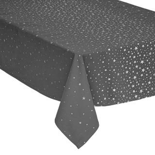 Nappe design étoiles de Noël - L. 240 x l. 140 cm - Gris et argent