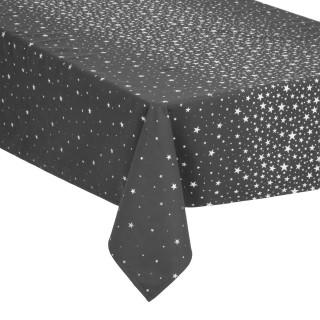 Nappe design étoiles de Noël - L. 360 x l. 140 cm - Gris et argent