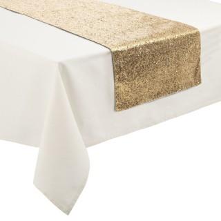Chemin de table Noël effet paillettes Colorama - L. 150 x l. 45 cm - Doré