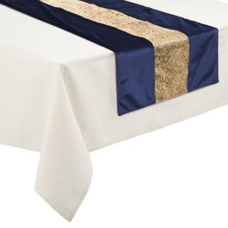 Chemin de table Noël effet velours Colorama - L. 150 x l. 45 cm - Bleu