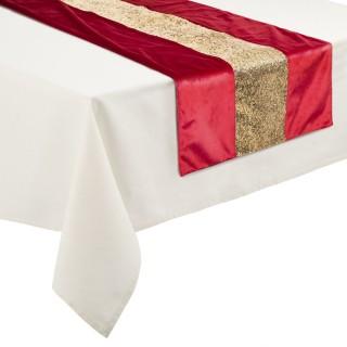 Chemin de table Noël effet velours Colorama - L. 150 x l. 45 cm - Rouge