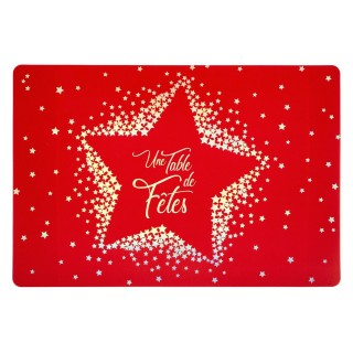 6 Sets de table de Noël design Etoile - L. 30 x l. 43 cm - Rouge
