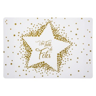 6 Sets de table de Noël design Etoile - L. 30 x l. 43 cm - Blanc et or