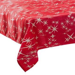 Nappe étoiles de Noël Caneva - L. 140 x l. 360 cm - Rouge et argent