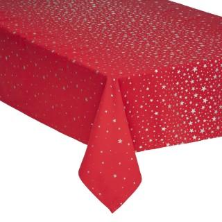 Nappe design étoiles de Noël - L. 240 x l. 140 cm - Rouge et argent