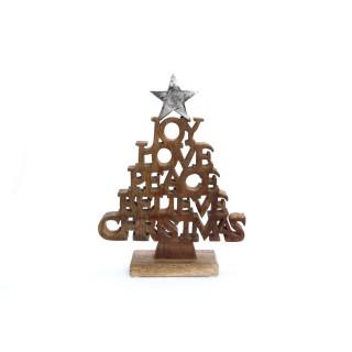 Décoration de Noël à poser en bois Ice - Argent