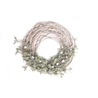 Centre de table pour bougie Noël effet branches Mistletoe - Marron