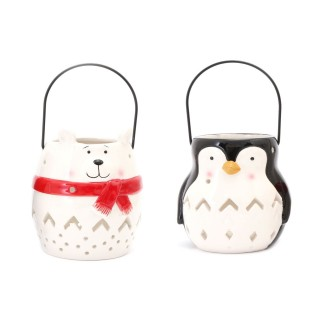 Lot de 2 Déco de Noël lanterne Xmas - Ours et pingouin