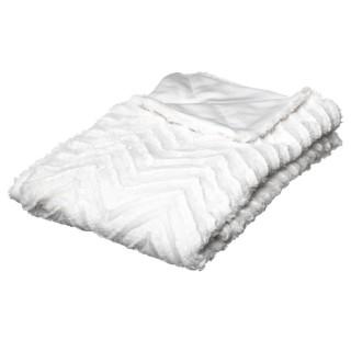 Plaid design effet fourrure Jeanne - L. 130 x l. 160 cm - Blanc