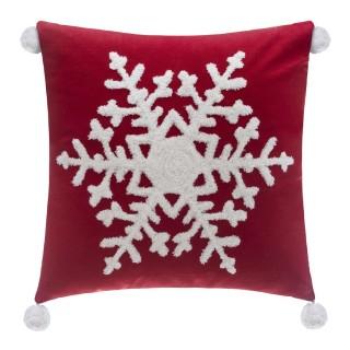 Coussin de Noël à pompons Jeanne - L. 40 x l. 40 cm - Rouge