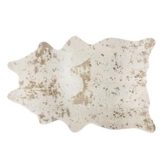 Tapis design peau de vache Terre sauvage - L. 190 x l. 150 cm - Doré et blanc